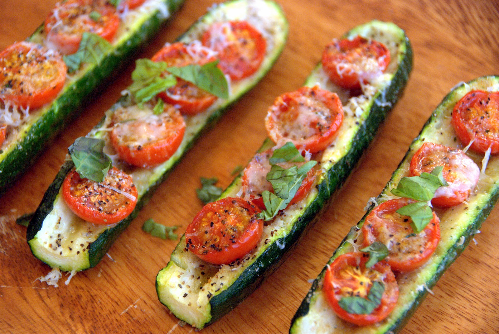 Baked Zucchini Boats with Parmesan and Cherry Tomatoes | The Zucchini ...