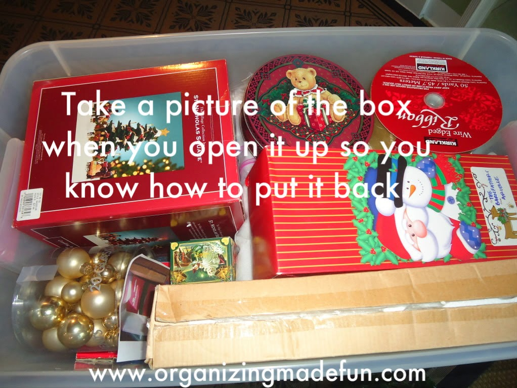 Christmas decor organizing ideas :: OrganizingMadeFun.com