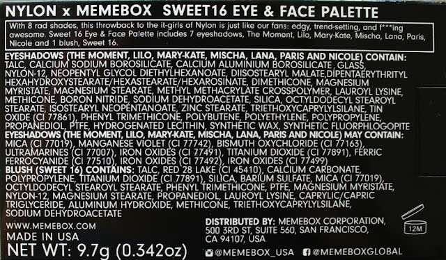 XO Memebox X Nylon #ItGirlPalette ingredients warnings