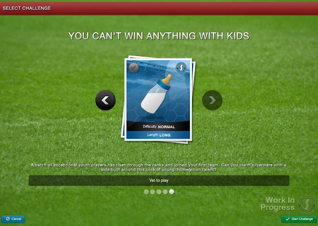 Football Manager 2013 New Feature - Select a challenge - You can't win anything with kids
