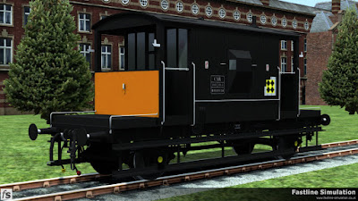 Fastline Simulation: Just about the end of the line for the traditional brake van was the repainting of a select few dia 1/507 through air and vacuum braked (TOPS code CAR) brake vans for use with dangerous goods.