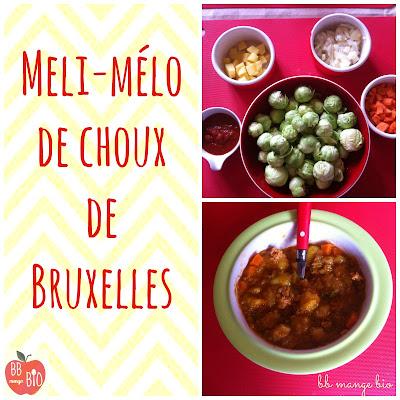 Choux de Bruxelles mijotés pour enfant à partir de 1 an à base de légumes bio . Recette d'hiver BB mange bio