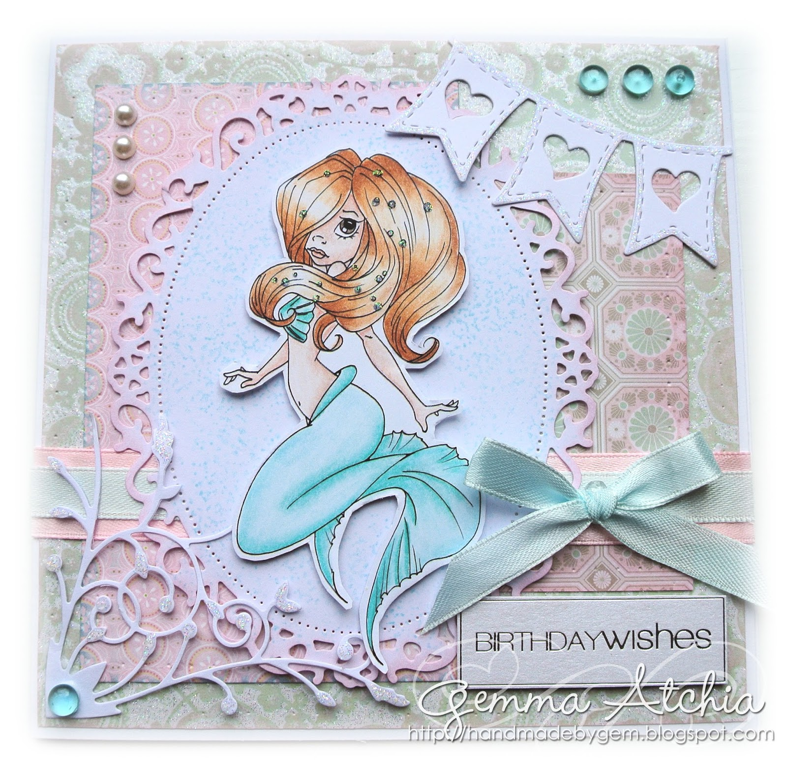 saturated canary mermaid, prismacolour pencils, banner, hearts, gems, die cuts, ovals, bows, ribon