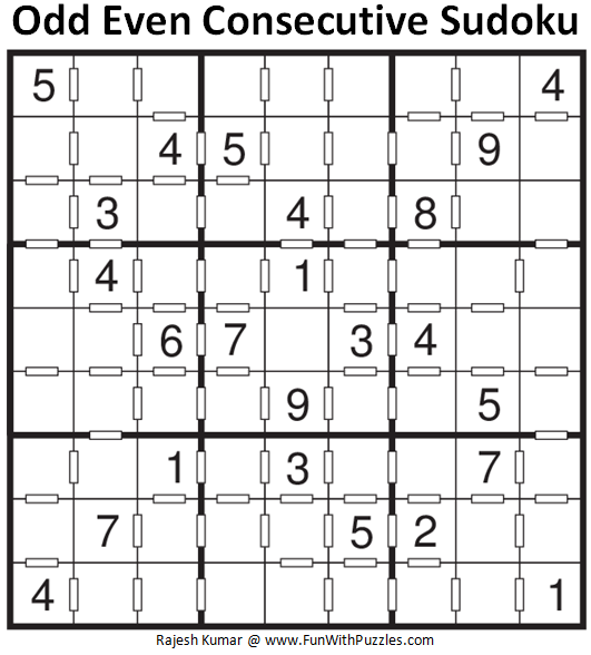 Odd Even Consecutive Sudoku (Fun With Sudoku #126)
