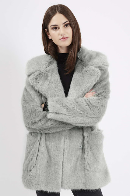 light grey fur coat, topshop grey fur coat, grey faux fur coat,
