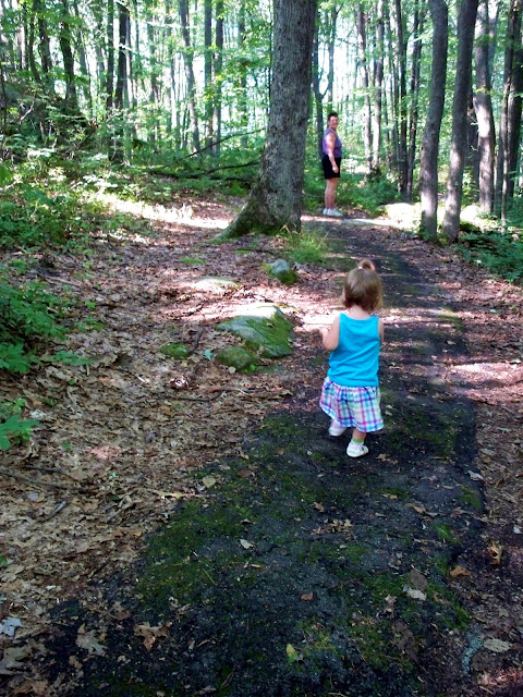 One year old walking a path through the forest