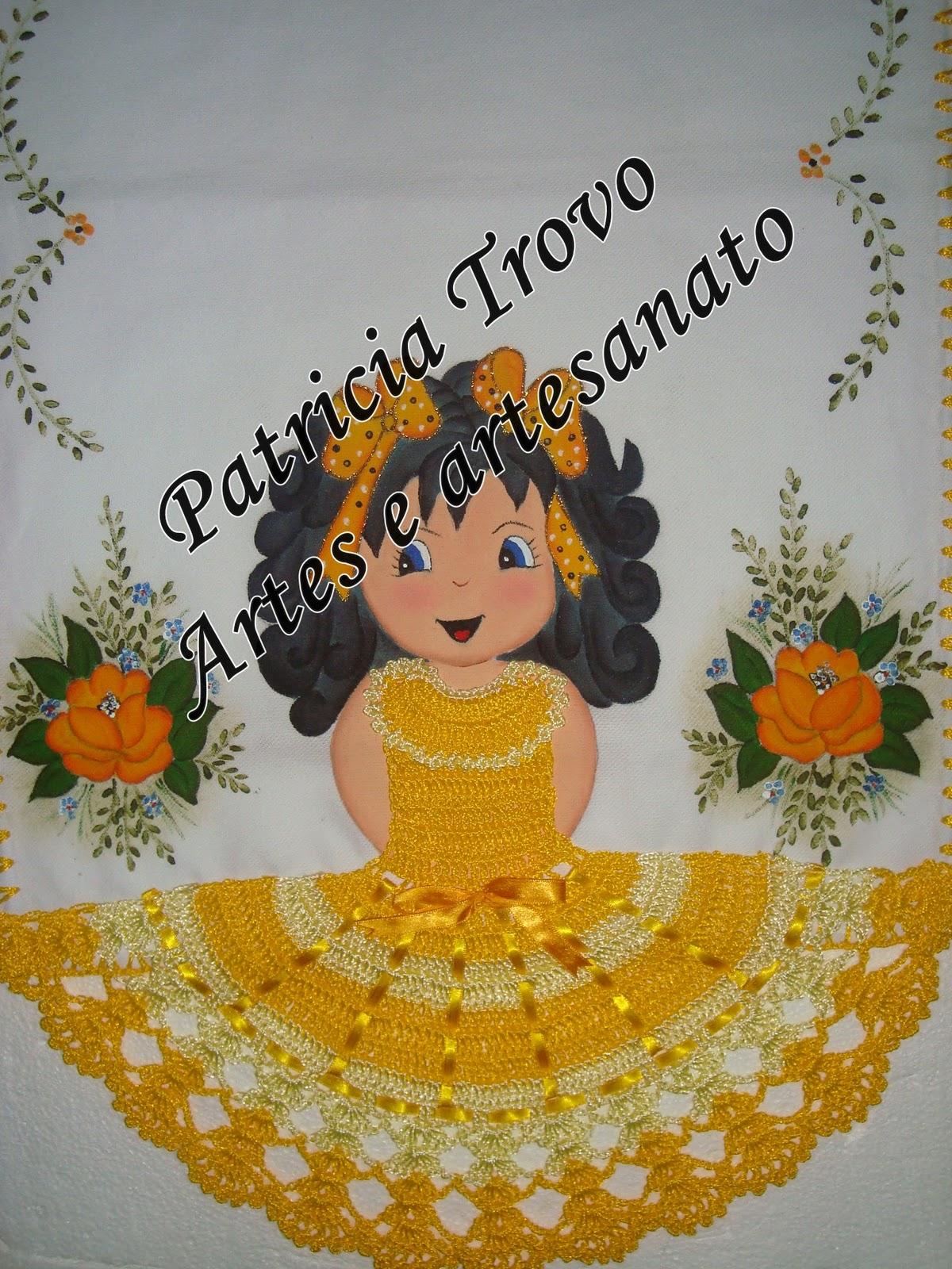 Pano De Prato De Boneca   Vestido De Croch