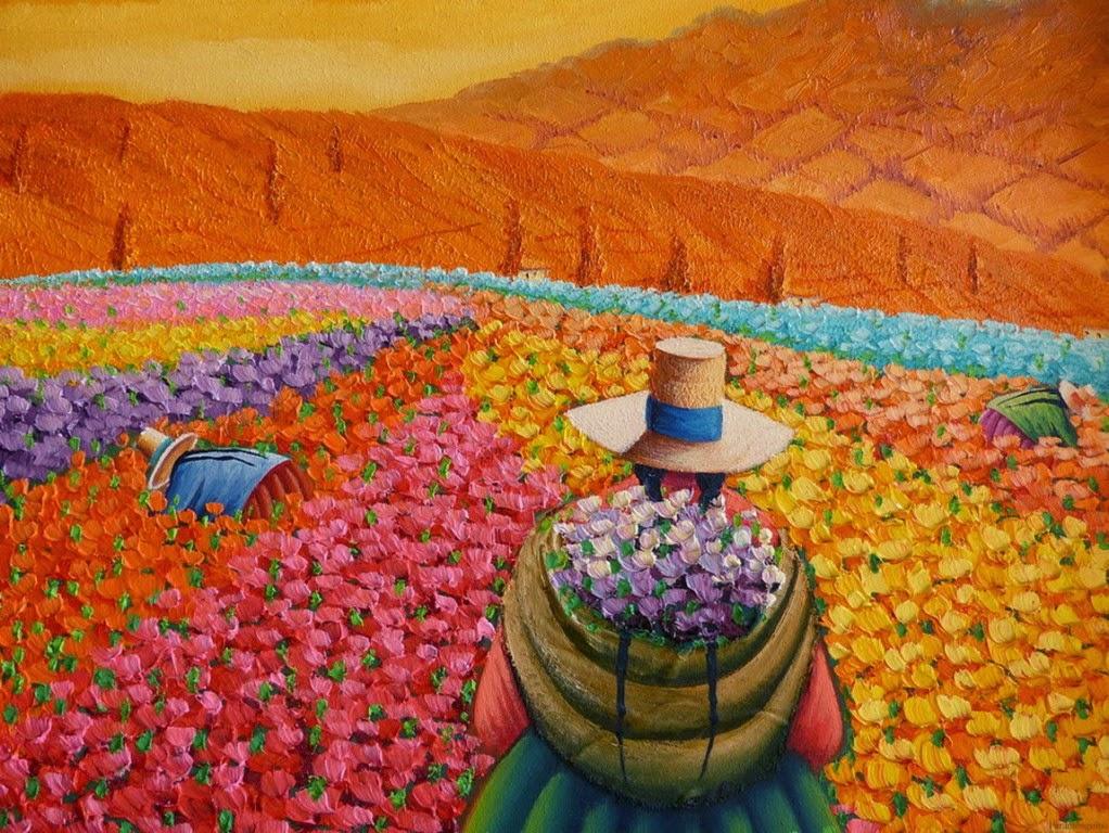cuadros-de-campesinas-con-espatula-flores