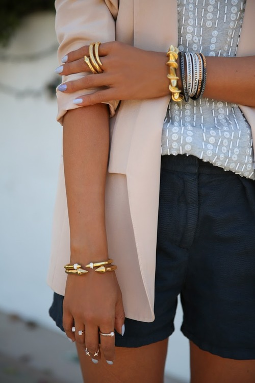 Golden bracelet and snake ring for ladies
