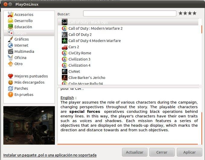 PlayOnLinux para usar programas de Windows en Linux