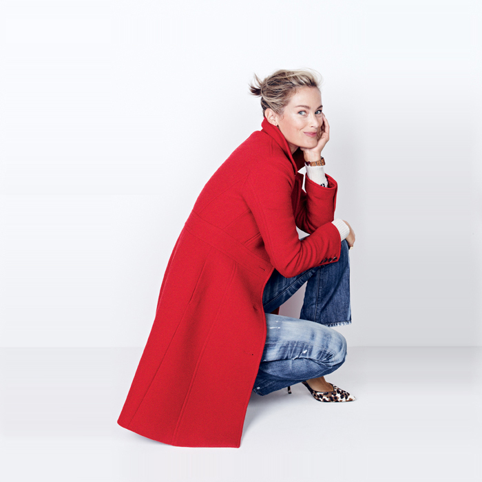 leopard pumps, j crew red coat, distressed denim, how to wear, gifts college daughers