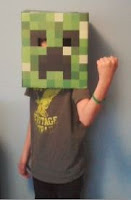 kid in minecraft creeper mask