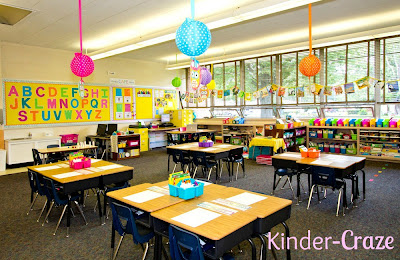 A bright and colorful kindergarten classroom