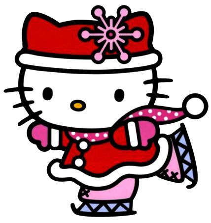 Hello Kitty patinando bien abrigada por invierno