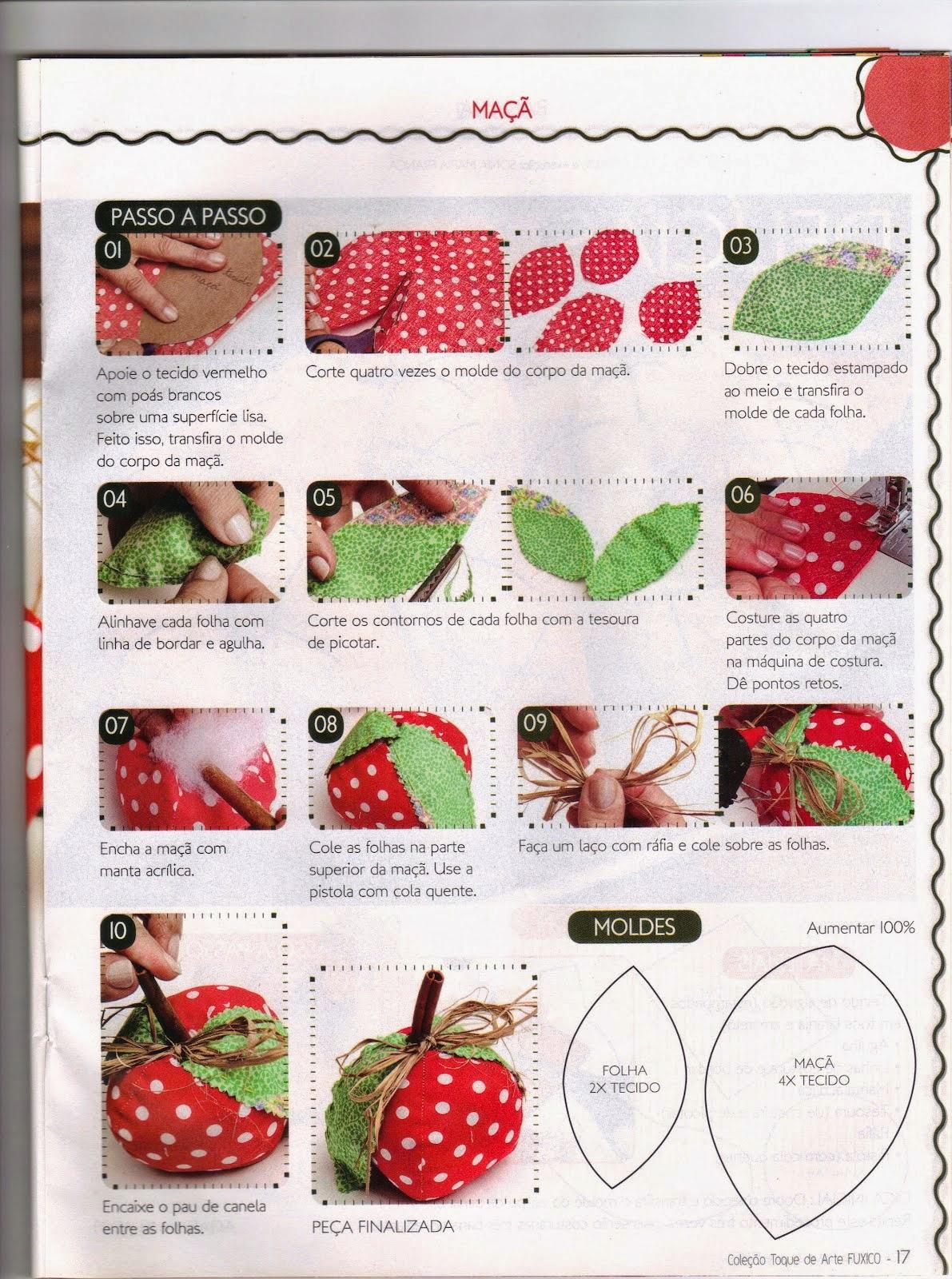 Moldes maçã de feltro ou tecido