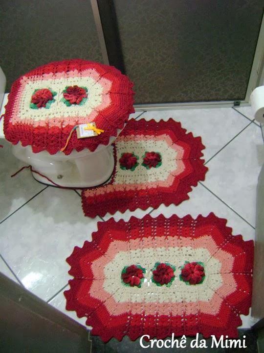 Jogo de Banheiro com Flor Catavento em Vermelho ~ Crochê da Mimi -> Jogo De Banheiro Simples Passo A Passo