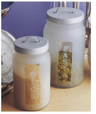 Interior decor inspiration decor diy frosted glass jars for Glass jar kitchen ideas