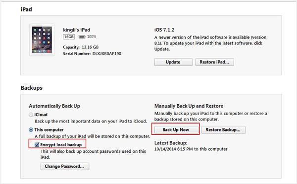 choose encrypt iTunes backup
