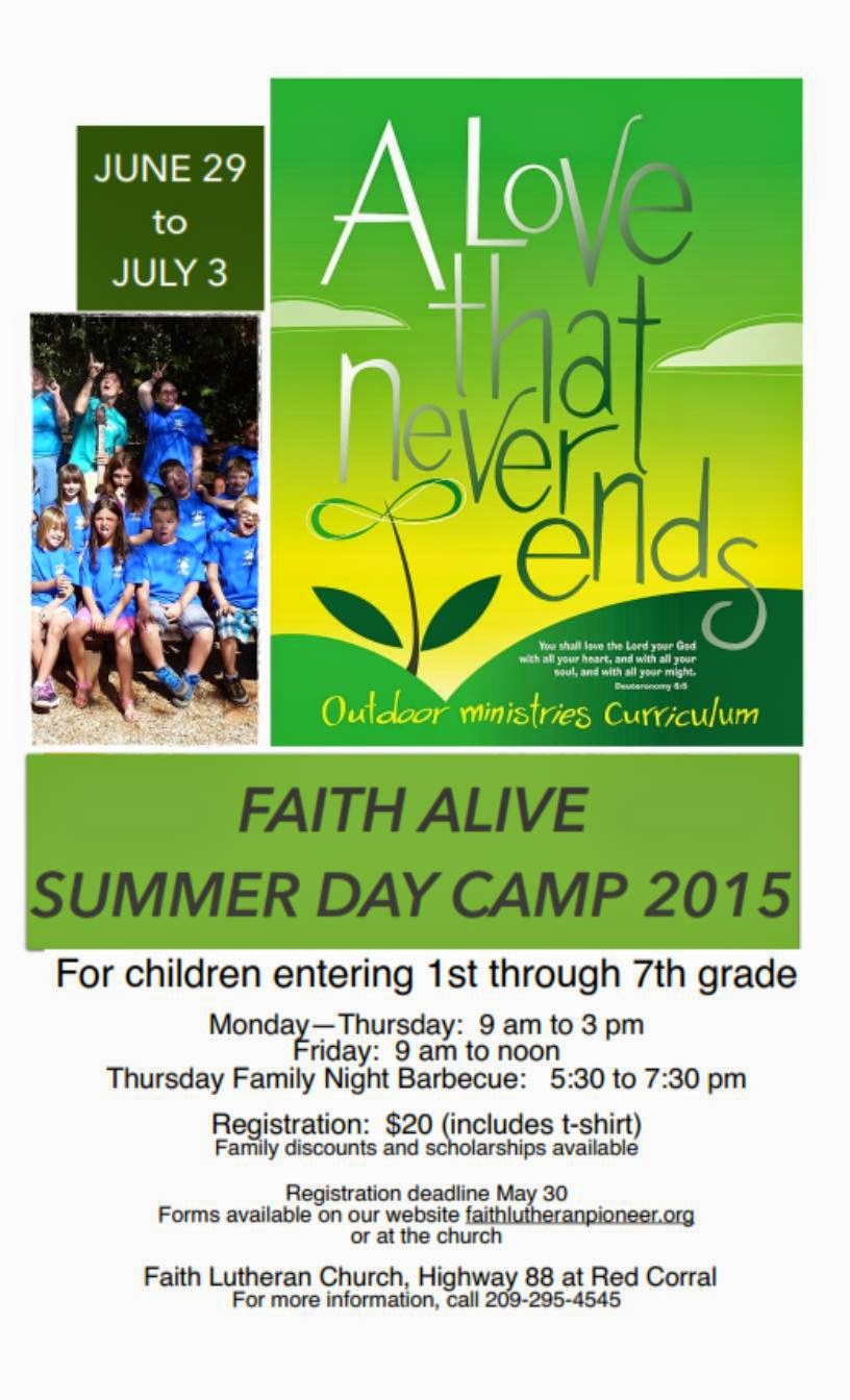 Faith Alive Summer Day Camp 2015 - June 29 -July 3