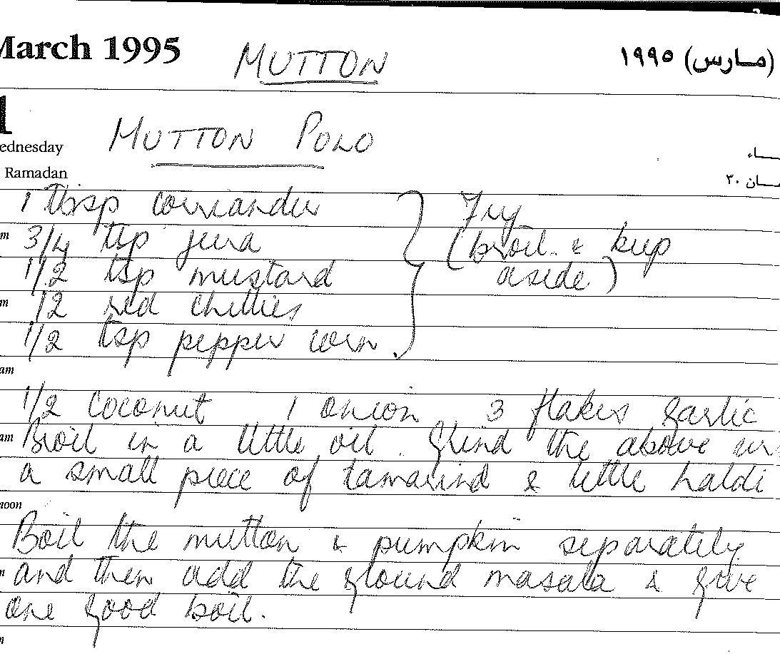 Karen\'s Kitchen: Mutton Polo from Karen\'s recipe book