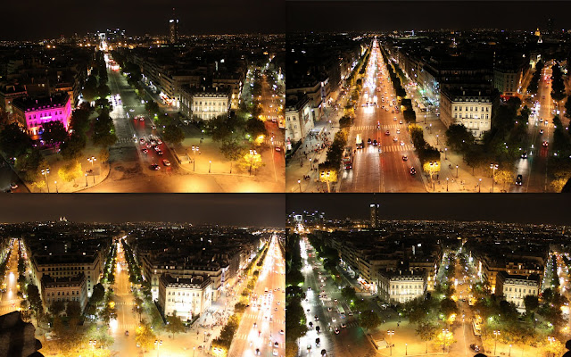 The shimmering lights of Paris downtown was taken from different angle at the observation deck of Arc de Triomphe in Paris, France