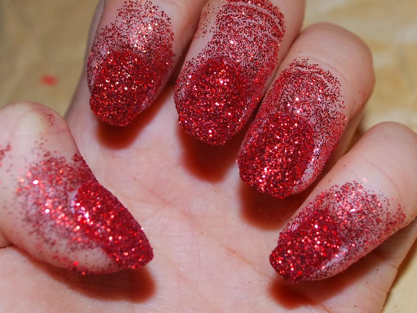 Nail art long red glitter nails nail ideas pinterest nail art gt nail