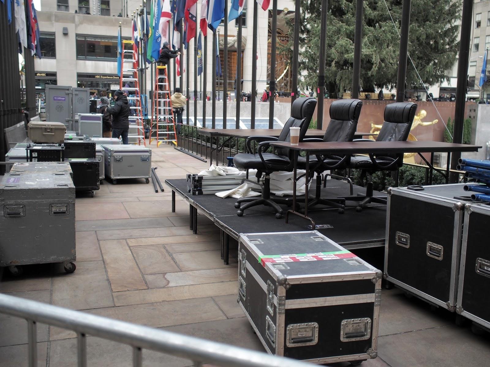 Getting Ready for the Big Show #gettingreadyforthebigshow #rockcenter #rockerfellercenter #christmastree 2014