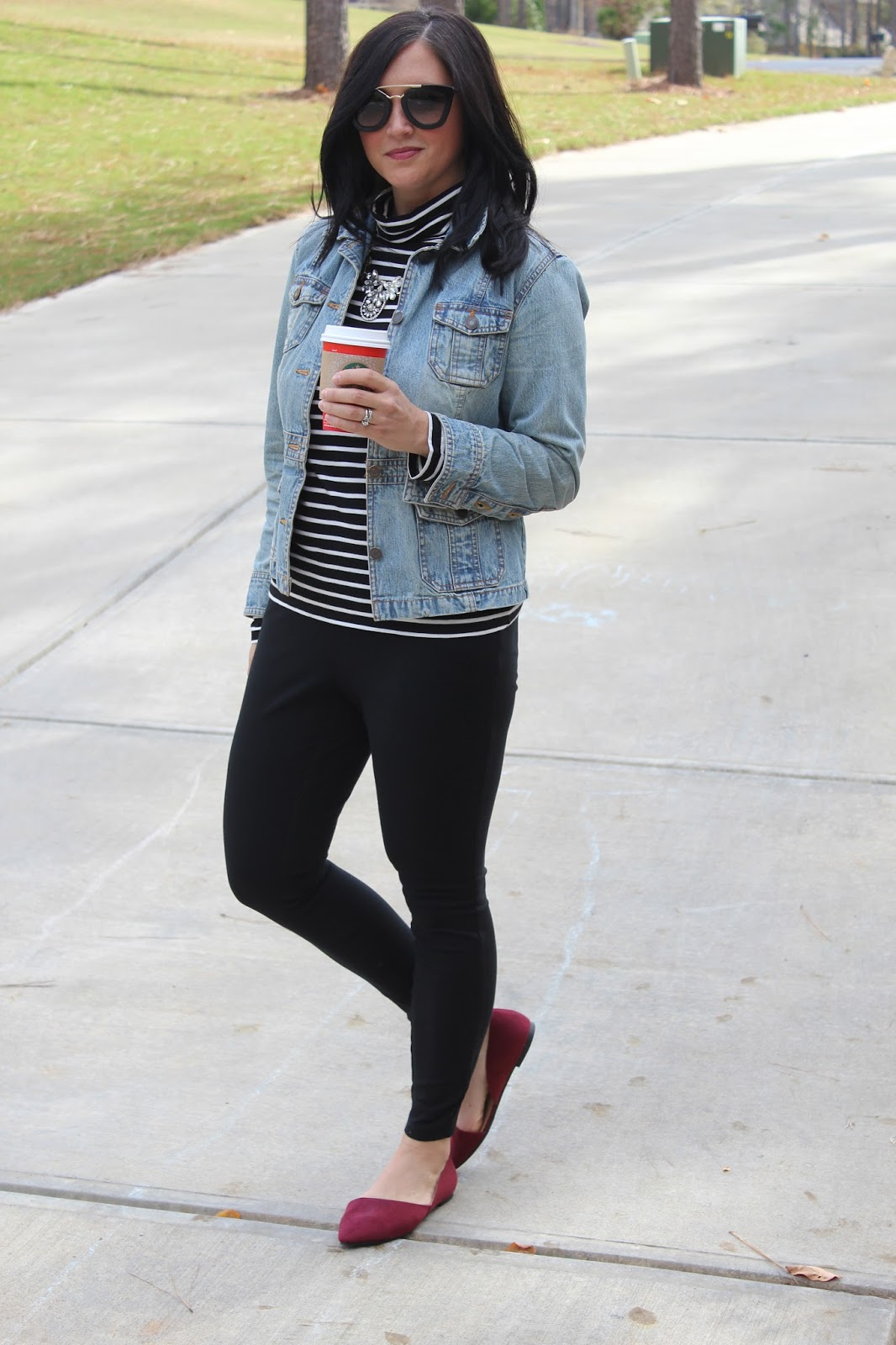 Striped Turtleneck, Red Suede Pointy Toe Shoes