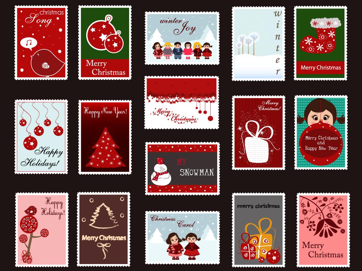 クリスマス飾りの切手デザイン exquisite christmas ornaments stamp vector イラスト素材1