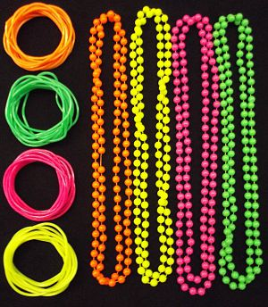 Neon 80s gummy bracelets and neon beaded necklaces