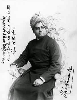 An Indian person (Swami Vivekananda), sitting