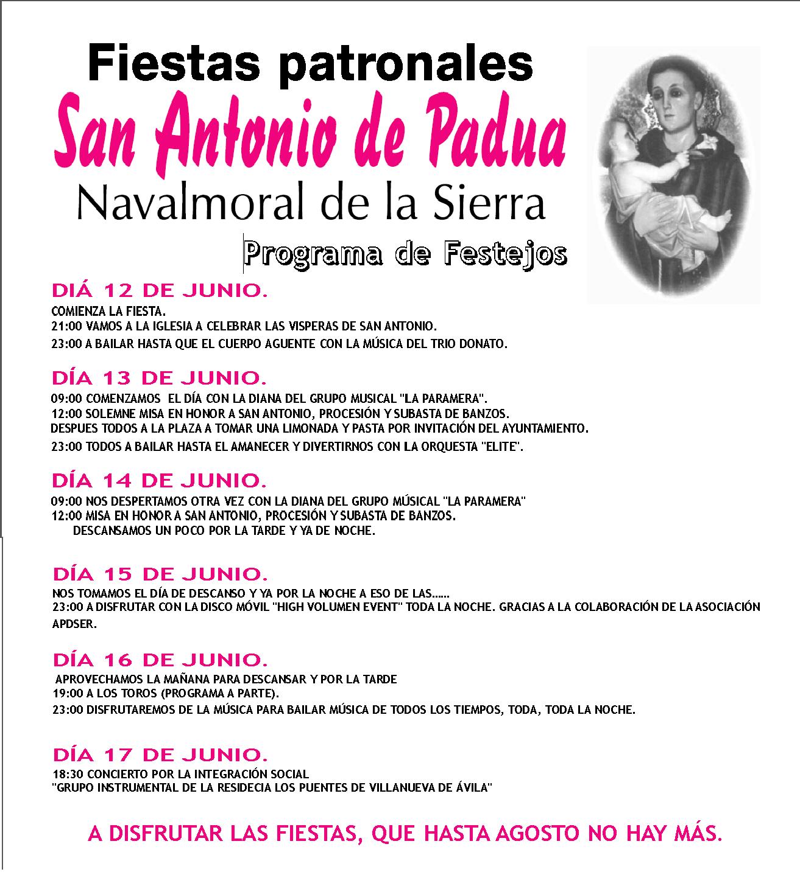 Bar las casillas cartel fiestas de san antonio 2012 - Navalmoral de la sierra ...