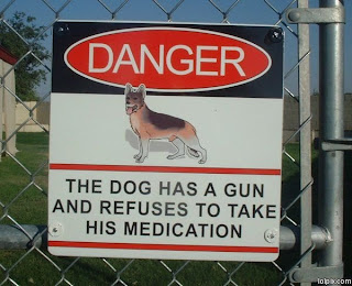 dog has a gun and refuses to take his medication funny sign