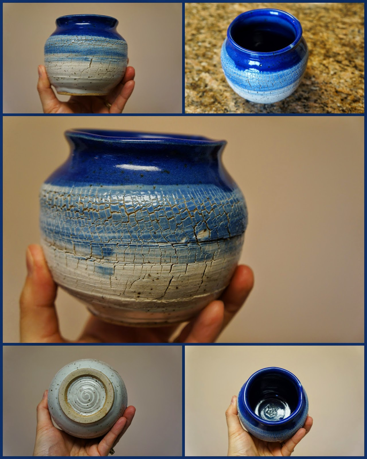 Gorgeous sodium silicate crackle stoneware ceramic vase in blues and whites.