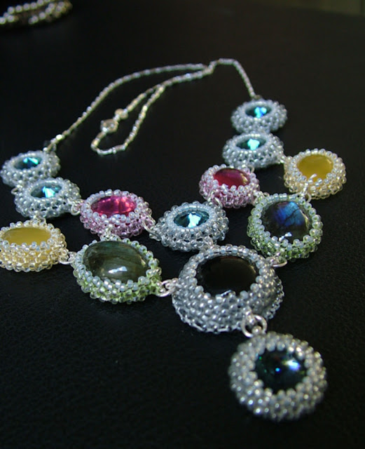 Colorful Gemstones - Beaded Bezel Cab Necklace