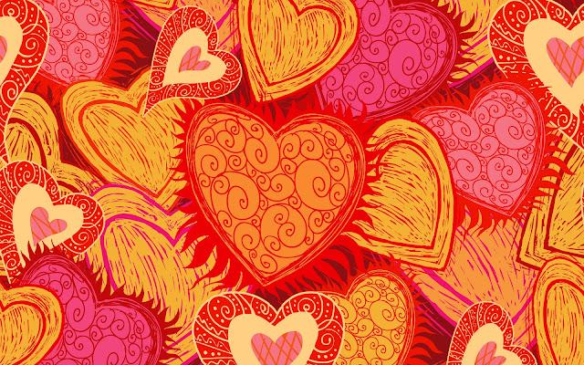 Rode en gele liefdes hartjes