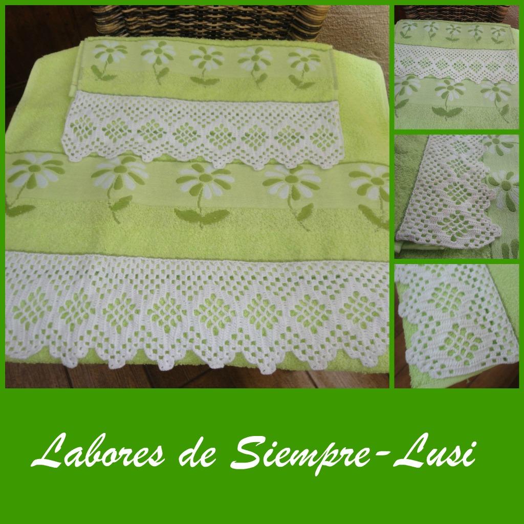 Labores de siempre puntillas para toallas verde - Como hacer colcha de ganchillo ...