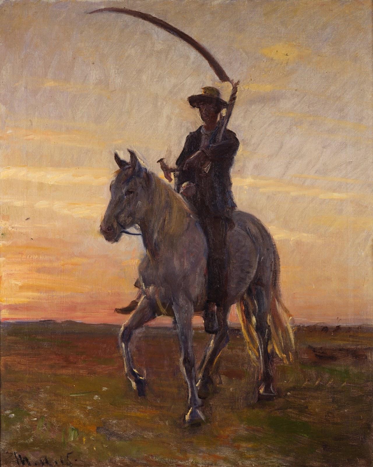 Ung høstmand rider hjem fra udmarken af Michael Ancher