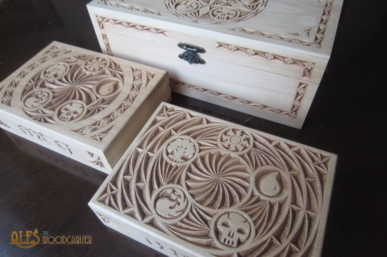 Ales the woodcarver one large and few small mtg card boxes