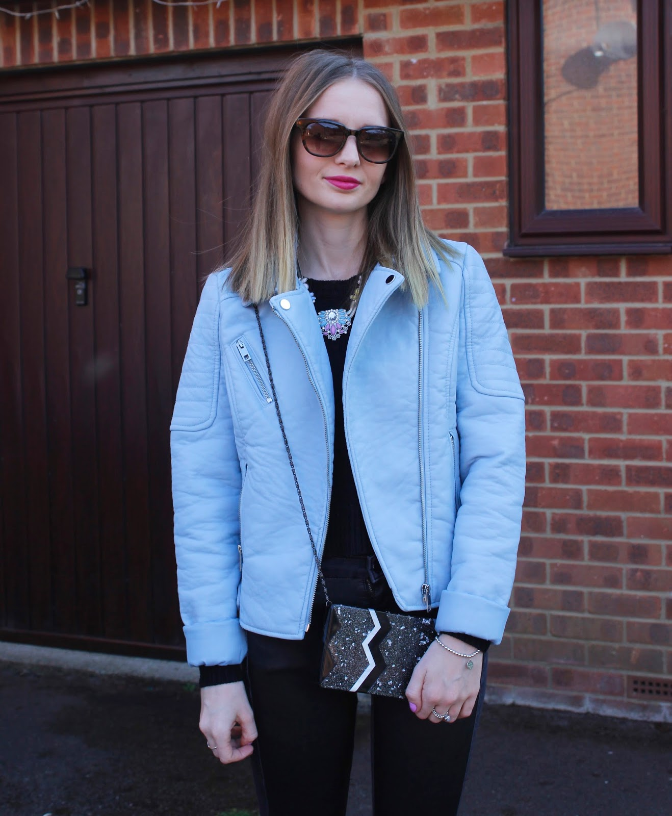 Wearing George at Asda Blue Leather Look Jacket, Warehouse Box Clutch & Necklace