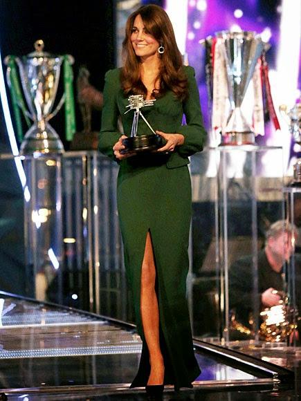 Catherine Middleton wears dark green Alexander McQueen dress, Dec 2012