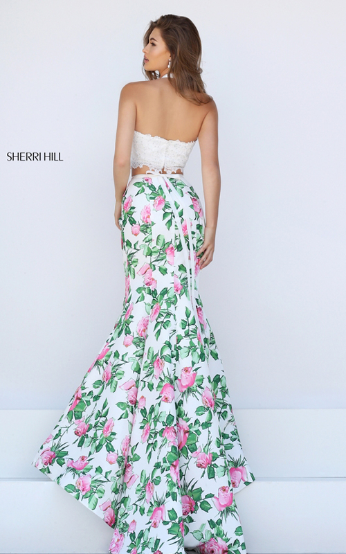 2016 sexy prom gown  2016 sherri hill floral printed queen prom dresses