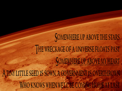 Moving To Mars - Coldplay Song Lyric Quote in Text Image