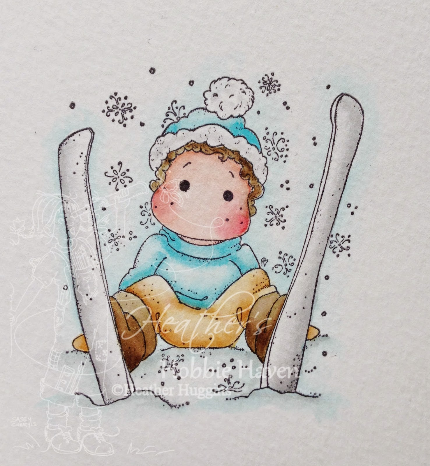 Heather's Hobbie Haven - Ski Edwin with Snowflakes Card Kit