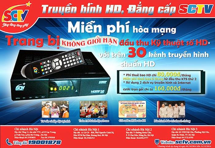 Chương trình ưu đãi hấp dẫn của SCTV tại Hà Nội và Đà Nẵng