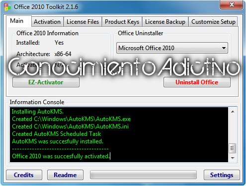 Tutorial para Activar Office 2010 con Toolkit and EZ-Activator495