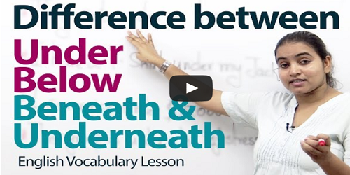 difference between under and below prepositions,difference between beneath and underneath