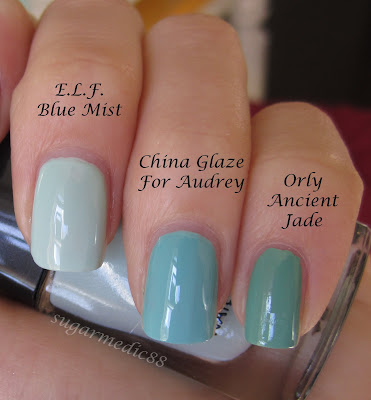 ELF Blue Mist Comparison Essie Mint Candy Apple China Glaze For Audrey Orly Ancient Jade