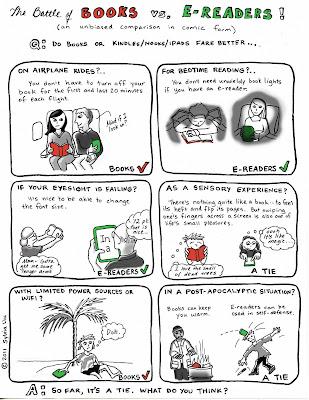 Comic comparing books to E-books and E-Readers