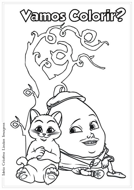 O Gato de Botas e Humpty desenho para colorir